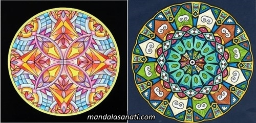 Mandala örnekleri boyalı