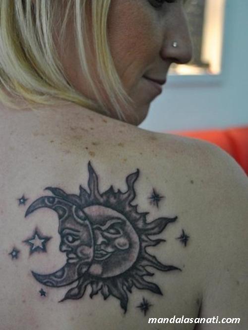 ay güneş mandala tattoo