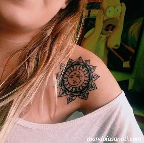 ay yıldız mandala tattoo
