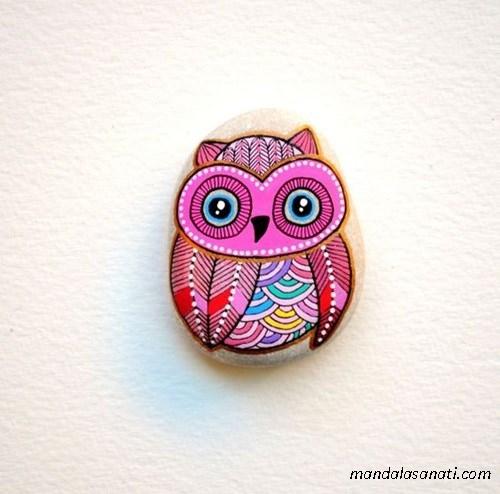 taş boyama baykuş yapımı