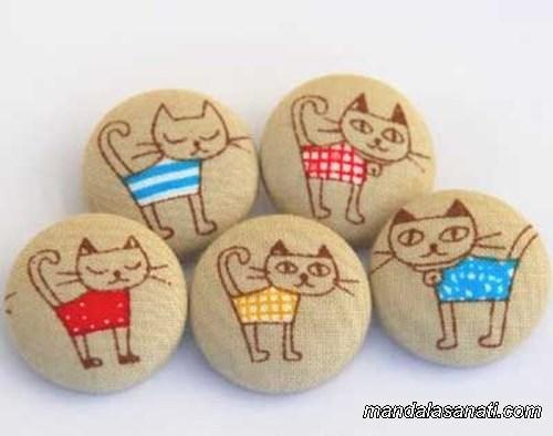 taş boyama kedi