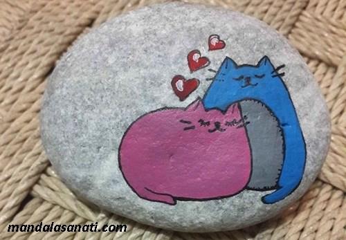 taş boyama kedi çizim tekniği
