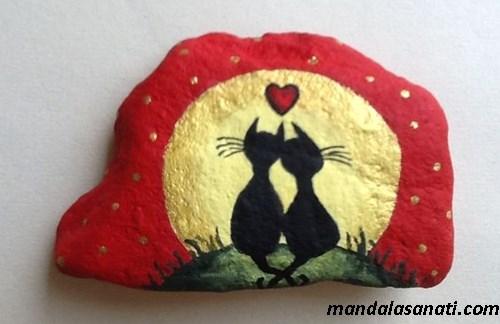 taş boyama kedi yapım aşamaları