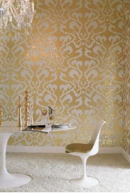 Beyaz sarı duvar stencil