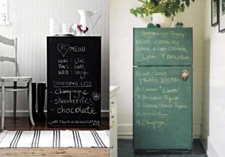 Kara tahta boyası ile buzdolabı boyama