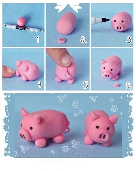 Şeker hamurundan domuz yapımı